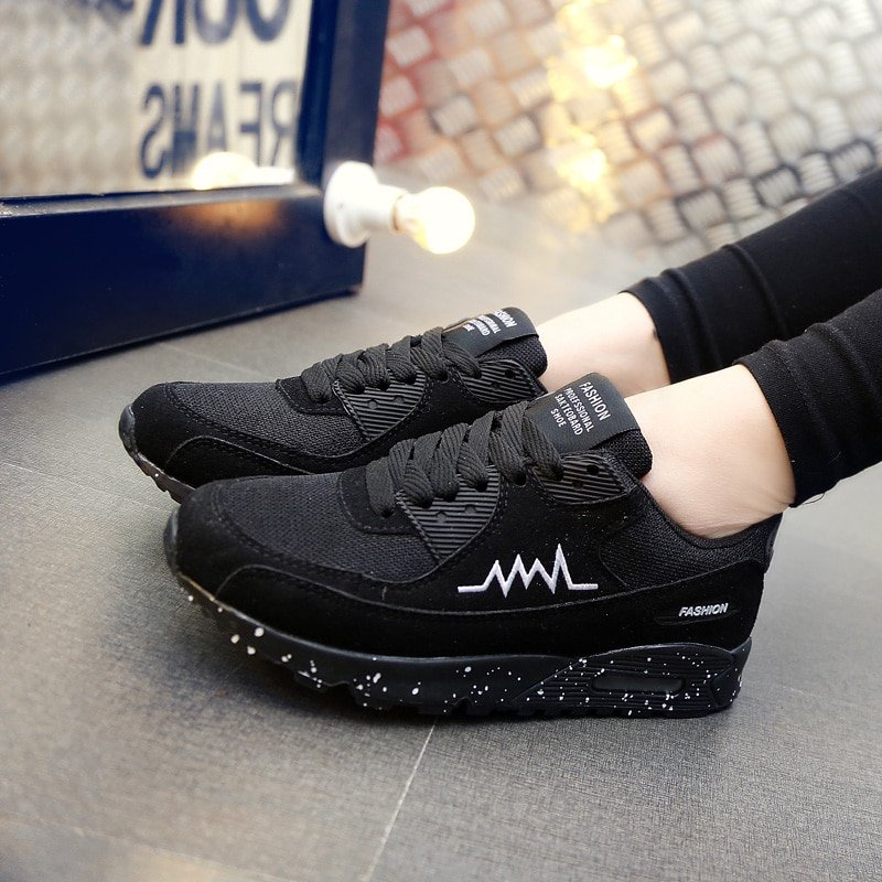 Sport Running Shoes Women Fashion Sneakers Basket Femme Black Breathable Platform Shoes Woman Lace-Up Zapatillas Mujer Deportiva