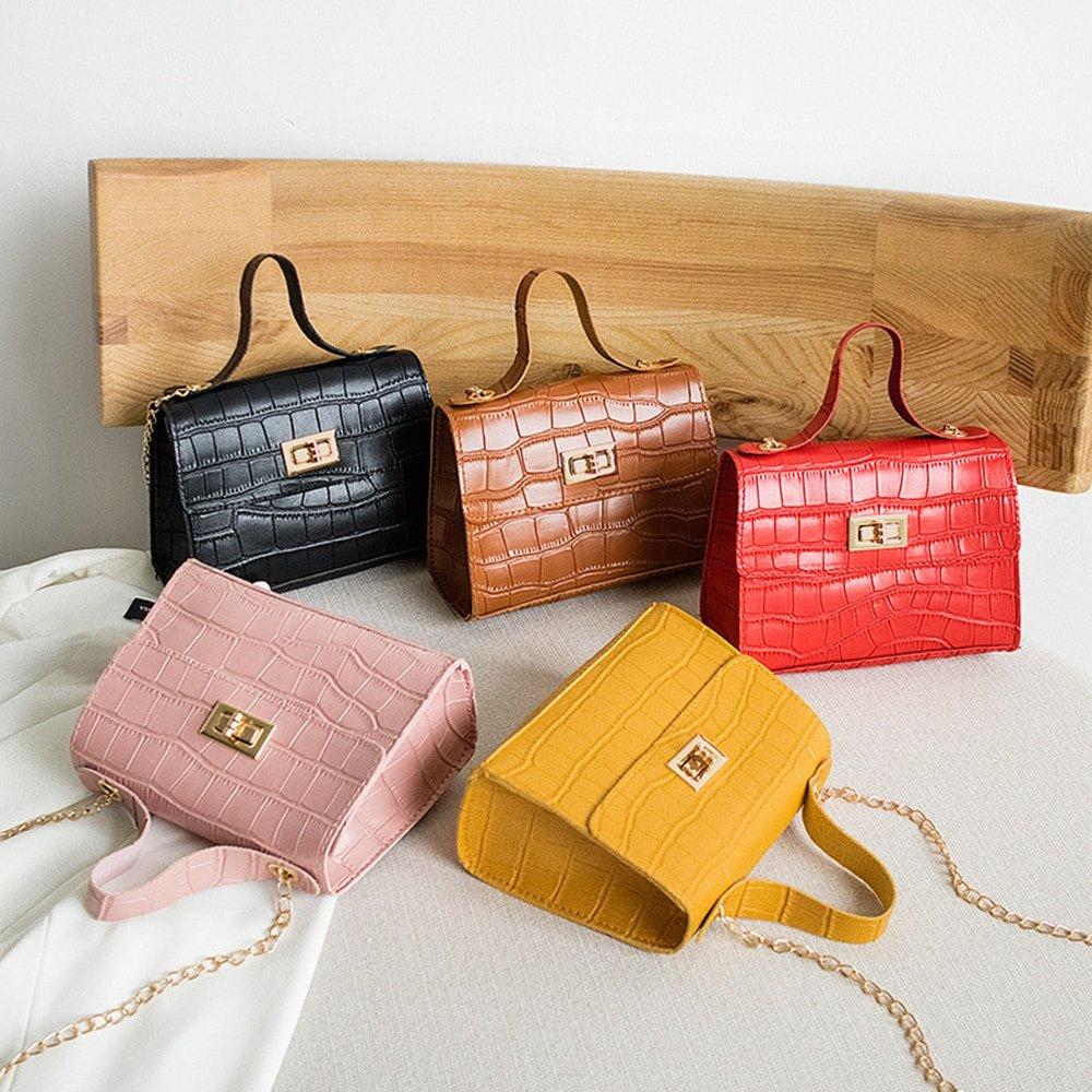 PU Fashion Women Bags Leisure Crossbody Bag Crocodile Pattern Handbag Shoulder Messenger Chain Lock Small Square Bag Wholesale