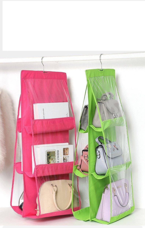 6 Pocket Hanging Handbag Organizer for Wardrobe Closet Transparent Storage Bag Door Wall Clear Sundry Shoe Bag with Hanger Pouch
