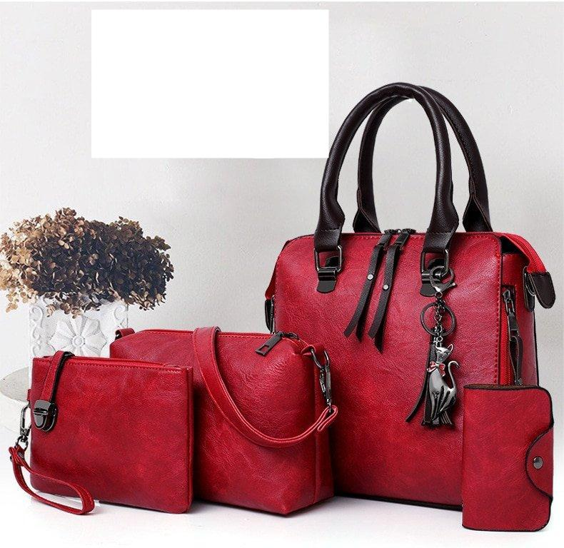 ValenKuci Leather Shoulder Messenger Bag Tote Bag Bolsa 4pcs/Set Women Composite Bag High Quality Ladies Handbag Female set bag