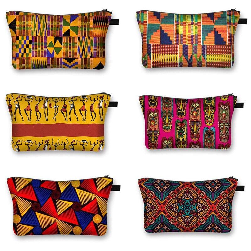 African Woman Print Cosmetic Bag Fashion Casual Small Handbag Afro Portable Storage Bags Travel Bag